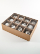2 1/2in White, Matte & Shiny Silver Vintage Glass Ornaments,, Set of 12