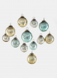 2 1/2in Gold, Silver, & Blue Vintage Glass Ornament Balls, Set of 12