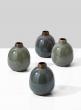 Blue & Teal Ceramic Bottle Bud Vase, Set of 4