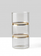 Gold Band Round Glass Vase, 8in High