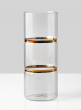 10in H Gold Band Round Glass Vase