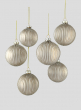 3in Glittered Pleated Pearl Gold Glass Ball Ornament, Set of 6