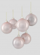 4in Shiny Light Pink Glass Ball Ornament, Set of 6