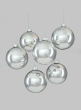 4in Shiny Silver Glass Ball Ornament, Set of 6