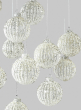 Silver Glitter Ribbed Glass Ornament,, Set of 12