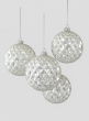 4in Glitter Silver Vine Glass Ball Ornament, Set of 4