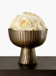 antique brass scalloped pedestal bowl floral centerpiece
