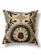 black and tan ikat print silk pillow