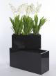 23 1/2in & 31 1/12in Glossy Black Rectangular Light Fiberstone Planter