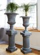 grey zinc fiberglass garden urn with ponytail palm