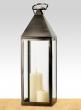 29in Matte Pewter Metal Square Lantern