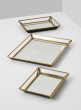 Mirrored Trays With Brass Edges