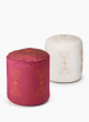 Embroidered White & Pink Poufs