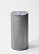 silver metallic ribbed pillar candle