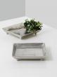 square metal raw nickel candleholder tray