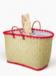 WOVEN STRAW BAG WITH RED RAFFIA TRIM & LEATHER HANDLES