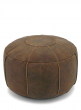 20IN VINTAGE-LOOK TAN BROWN LEATHER POUF