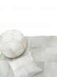 20in White Cowhide Leather Pouf