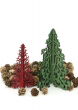 Red & Green Laser Wood Christmas Trees
